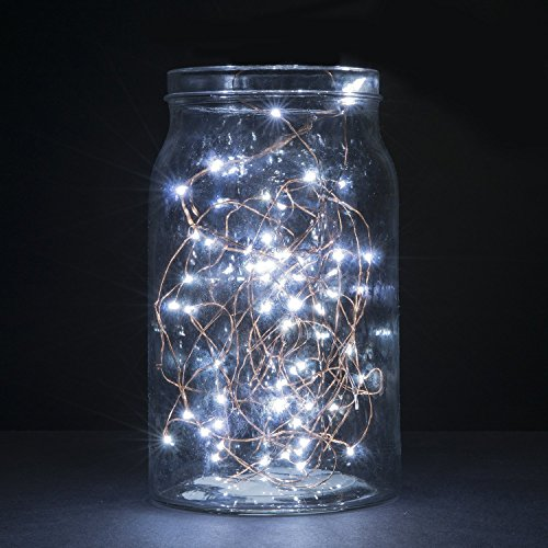 AMABUY LED String Lights,Cool White Silver Wire Lights Waterproof LED Starry String Lights Battery Operated Ultra Thin String Wire Lights for Garden,Home,Patio,Tree,Party,Bedroom(50 Leds,16.5 ft)
