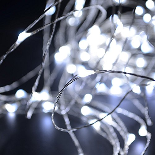 AMABUY LED String Lights,Cool White Silver Wire Lights Waterproof LED Starry String Lights ...