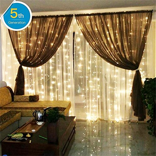 AMARS Linkable Safe 30V Bedroom String LED Curtain Lights Waterfall Window Lights Outdoor Indoor UL Certificated LED Fairy Lights for Wedding, Party, Home, Living Room (9.8ft 9.8ft, Warm White)