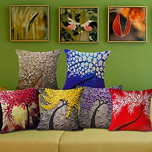 """ChezMax Oil Painting Home Decorative Cotton Linen Throw Pillow Cover Cushion Case Square Pillowslip For Kitchen Orange Ginkgo Leaves 18 X 18"""""""