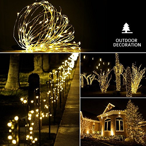 Dimmable Led String Lights, Sungluber 33 Ft 100 Warm White LED Bulbs With  Remote Control Waterproof Copper Wire Indoor Outdoor As Party Wedding  Bedroom ...