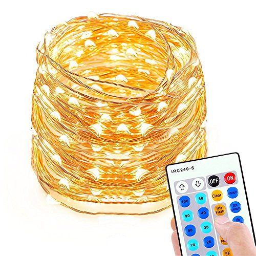 Dimmable Led String Lights, Sungluber 33 ft 100 Warm White LED ...