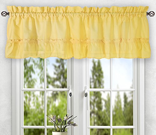 Ellis Curtain Stacey Tailored Tier Pair Curtains, 56″ x 36″, Yellow