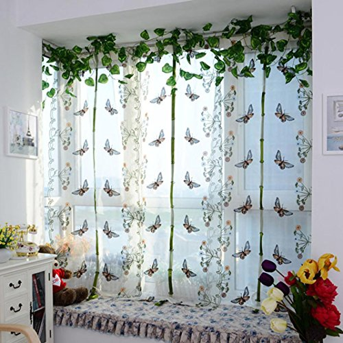 FUA® 1 Piece Pastoral Tulle Window Roman Curtain Embroidered Sheer For Kitchen Living (B)