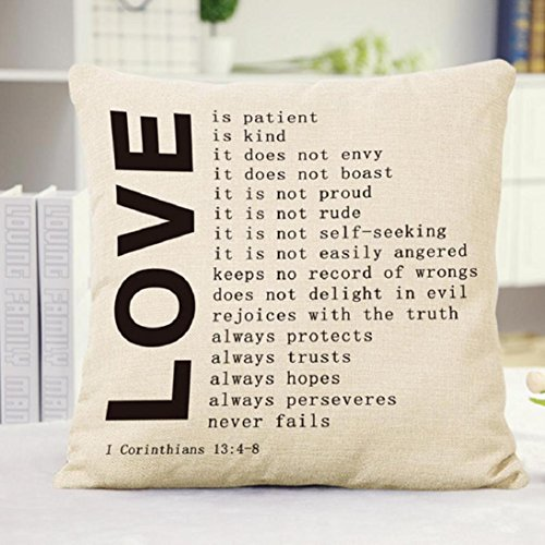 Fheaven 18 X 18″ Decorative Cotton Linen Throw Pillow Cover Cushion Case Three Kinds Love You Pillow Case (Black & Beige ) (A)