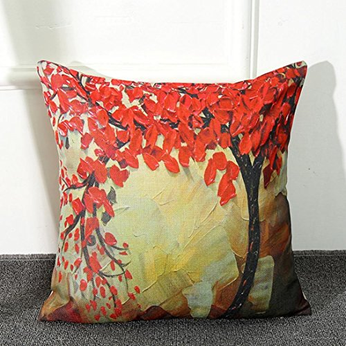 Fheaven Oil Painting Large Tree and Flower Cotton Linen Throw Pillow Case Cushion Cover Home Sofa Decorative 18 X 18 Inch (D)