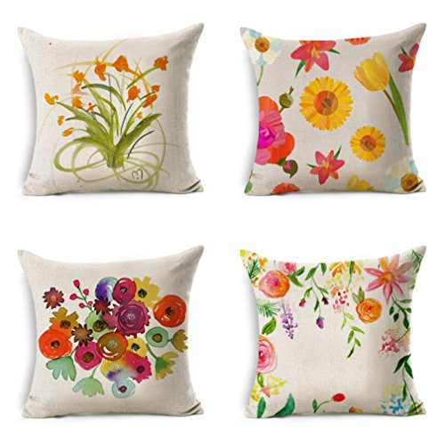 Flowers Linen Square Body Pillowcases,Highpot Various Beautiful Flowers Square Throw Flax Pillow Case Decorative Cushion Pillow Cover (C)