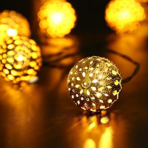 GlowGeek Globe String Lights, Moroccan Ball String Lights Warm White,20 LED Fairy Orb Lantern String Lights for Outdoor Garden, Yard, Patio, Party, Home Decoration