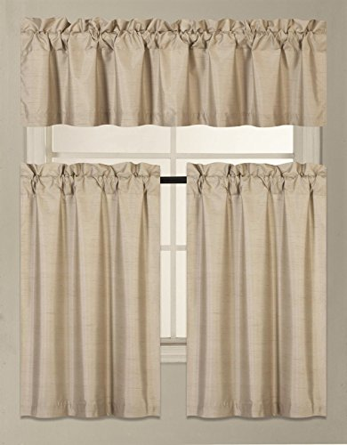 GorgeousHomeLinen (K3) 3 PC Kitchen Window Valance Tier Curtain Faux Silk  Panels Solid Lined Thermal Blackout Drape Set (TAUPE)