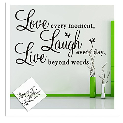 "Hanmero ""Live Every Moment,laugh Every Day, Love Beyond Words."" with 2x Butterfly Wall Quote Art Sticker Decal for Home Bedroom Decor Corp Office Wall Saying Mural Wallpaper Birthday Gift for Boys and Girls"