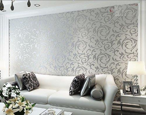 Hanmero long murals pvc vinyl bump dimensional for Grey and silver wallpaper living room
