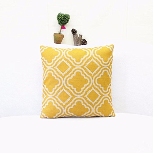 Iuhan® Fashion Argyle Pattern Linen Throw Pillow Case Cushion Cover Home Decor