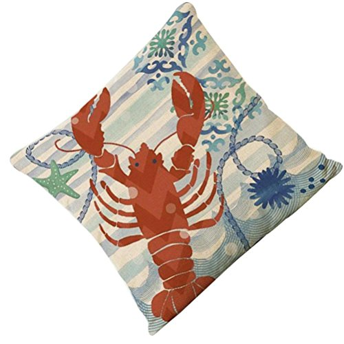 Iuhan Fashion Marine Style Cotton Linen Cushion Cover Throw Waist Pillow Case Sofa Home Decor (J)