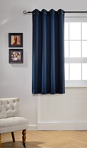 MYSKY HOME Solid Grommet Top Thermal Insulated Window Blackout Curtains For Kids Bedroom 52 By 63 Inch Navy 1 Panel