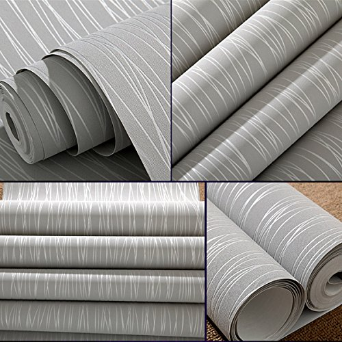 Mavee Non-Woven 3D Wallpaper, Print Embossed, Modern Stripe Fashion Wallpaper for Livingroom, Bedroom, Kitchen and Bathroom (20.8In x 32.8Ft)