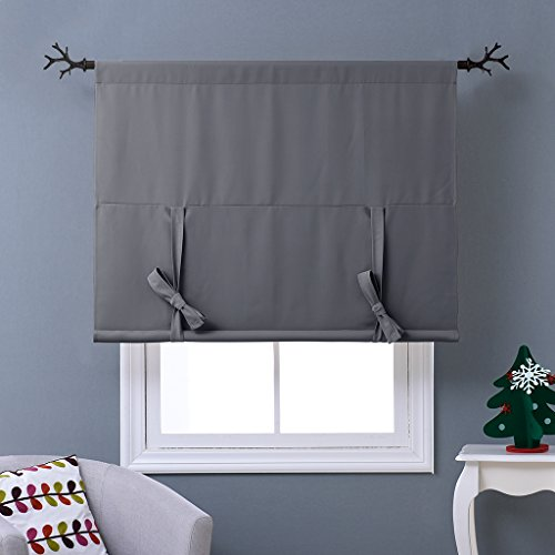 NICETOWN Thermal Insulated Grey Blackout Curtain – Tie Up Shade for Small Window (Rod Pocket Panel, 46″W x 63″L)