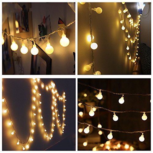 Naisidier 100LED 33 Feet Ball Globe  Long String Lights Warm Color  Warm Color  Fairy Starry Light Garden Party(Warm White)