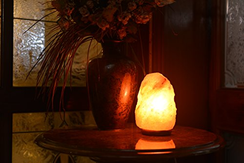 Natural Himalayan Rock Salt Lamp 6-7 lbs with Wood Base, Electric Wire & Bulb
