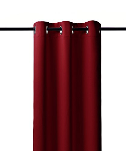 Nicetown Home Decorations Thermal Insulated Solid Grommet Top Blackout Living Room Curtains / Drape for Winter (One Pair,42 x 84-Inch,Burgundy Red)