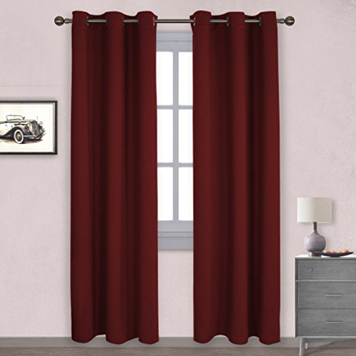 Nicetown Home Decorations Thermal Insulated Solid Grommet Top Blackout Living Room Curtains Drape For Winter One Pair42 X 84 InchBurgundy Red