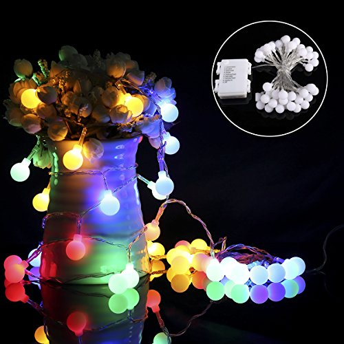 ProGreen Outdoor String Lights, 18.7ft 40 LED Waterproof Ball Lights, 8 Lighting Modes Dimmable Remote Ball, Battery Powered Starry Fairy String lights for Garden,Christmas Tree, Parties (Multi Color)