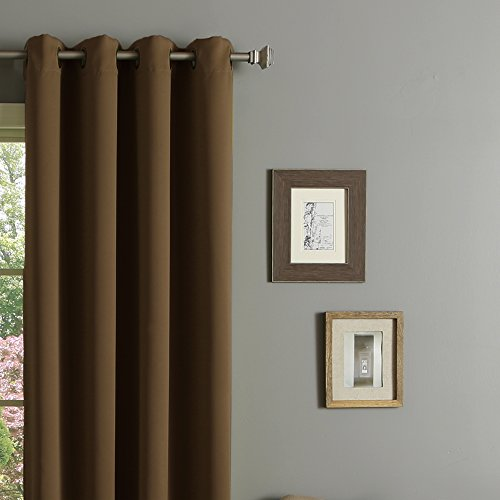 RHF Blackout Thermal Insulated Curtain – Antique Bronze Grommet Top for bedroom 52W by 63L Inches-Chocolate