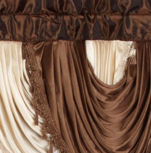 Regal Home Collections Amore 54-Inch by 84-Inch Window Set with Attached Valance, Brown