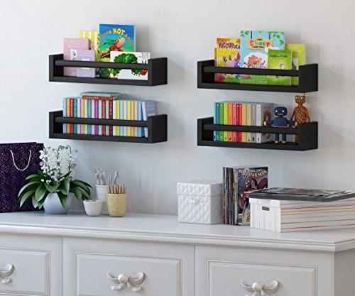 Set of 2 Muti-use Wood Kitchen Wall Shelf Black Spice Rack Also Good For Nursery Wall Shelf
