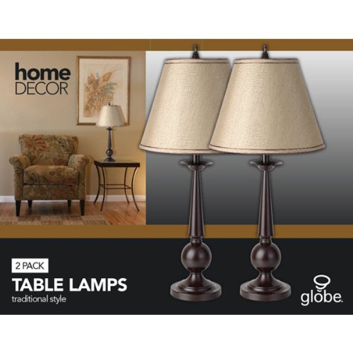 Set of Two 27″ Table Lamps, Bronze Finish, Beige Shades, 2x A19 E26 60W Bulbs (sold separately), Globe Electric 12398