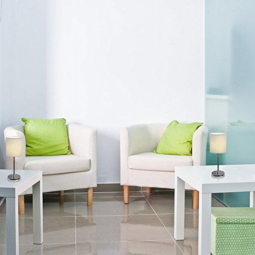 Simple Designs LT2007-WHT-2PK Chrome Mini Basic Table Lamp 2 Pack Set with Fabric Shades, White