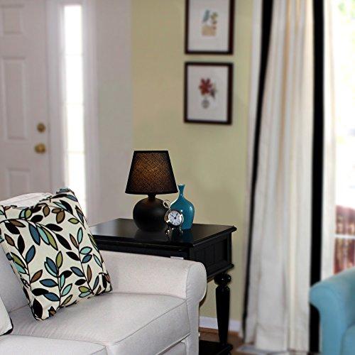 Simple Designs LT2008-BLK Mini Ceramic Globe Table Lamp, Black