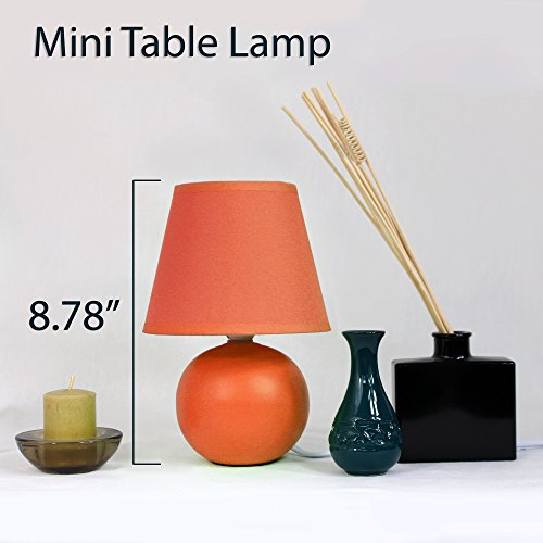 Simple Designs LT2008-ORG Mini Ceramic Globe Table Lamp, Orange