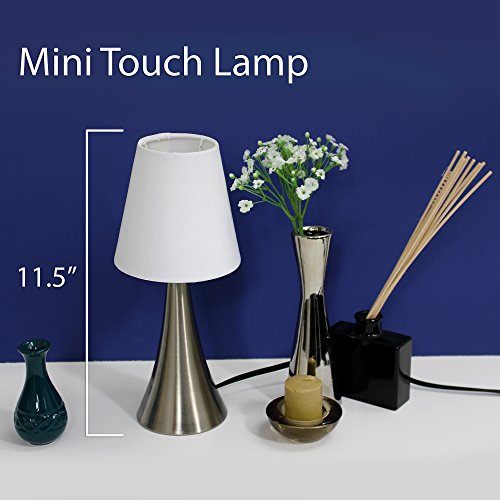 Simple Designs LT2014-WHT-2PK Valencia Brushed Nickel Mini Touch Table Lamps with Fabric Shades, White (Pack of 2)