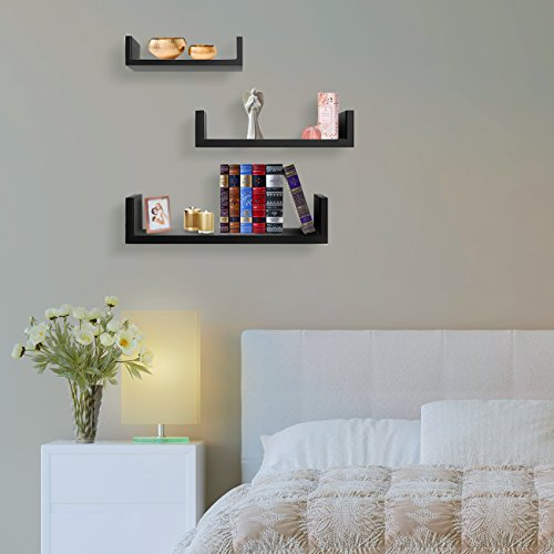 Sorbus Floating Shelves-U Shaped Hanging Wall Shelves for Decoration-Perfect for Picture Frames, Collectibles, Decorative items ,Trophy Display, and Much More (Set of 3, Black)