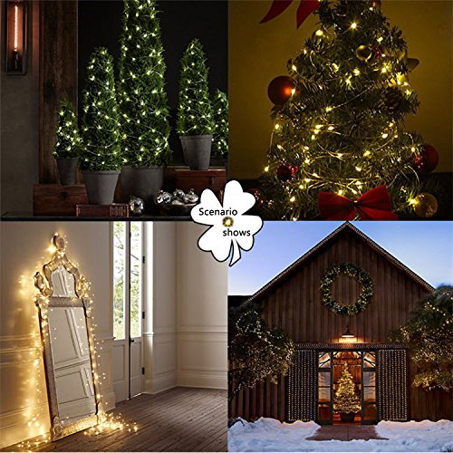 String Lights LED Lights Fairy Lights Xmas lights Outdoor lights -100 Leds, 33 feet Copper Wire, Warm White Outdoor Decor Lighting for Bedroom , Birthday Parties, Wedding and Decorations Water-Proof