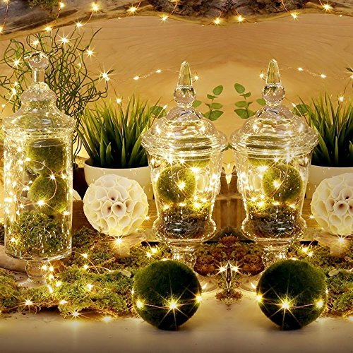 TopYart 10M/33ft Warm White LED String Lights 100 LEDs Indoor Decorative Lights for Wedding Xmas Party – Control up to 8 Sparking Modes
