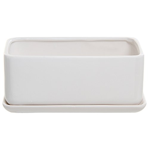 10 inch Rectangular Modern Minimalist White Ceramic Succulent Planter Pot / Window Box with Saucer