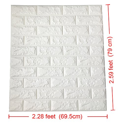Art3d 2.6Ft x 2.3Ft Peel and Stick 3D Wall Panels for TV Walls / Sofa Background Wall Decor, White Brick Wallpaper