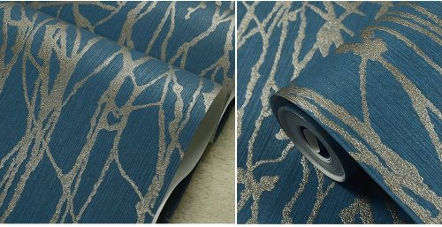 QIHANG Modern Minimalist Curve Tree Patterns Non-woven Wallpaper Roll Blue&gray Color(0.53m10m=5.3㎡)