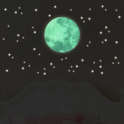 "Wandkings Light Stickers ""Moon in set with 250 stars"" – wall stickers – fluorescent and glow in the dark"