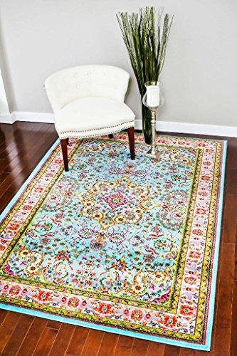 10015 Blue 5'2×7'2 Area Rug Carpet Large New