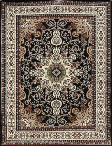 Generations New Oriental Traditional Isfahan Persian Area Rug, 2′ x 3′, Black