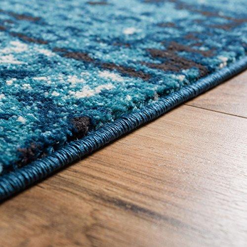 "Longlac Blue Vintage Stripe Modern Casual 2×4 ( 2'3″ X 3'11"" ) Area Rug Thick Soft Plush Shed Free"