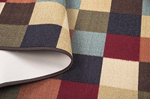 Ottomanson Ottohome Multi-Color Contemporary Checkered Design Modern Area Rug with Non-SkidRubber Backing, 3'3″ W X5'0″ L