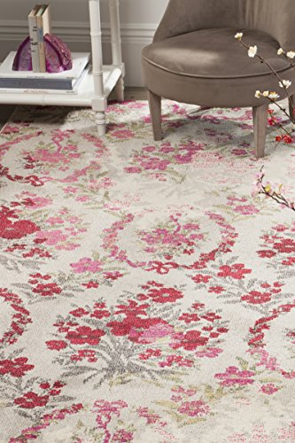 Safavieh Monaco Collection MNC205R Modern Floral Erased Weave Ivory and Pink Area Rug (5'1″ x 7'7″)