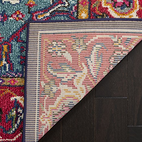 Safavieh Monaco Collection MNC207C Modern Oriental Medallion Red and Turquoise Area Rug (6'7″ x 9'2″)