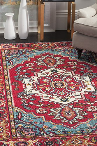 Safavieh Monaco Collection MNC207C Modern Oriental Medallion Red and Turquoise Area Rug (8′ x 11′)