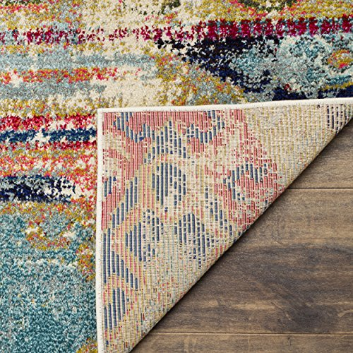 Safavieh Monaco Collection MNC222F Modern Bohemian Erased Weave Multicolored Area Rug (6'7″ x 9'2″)