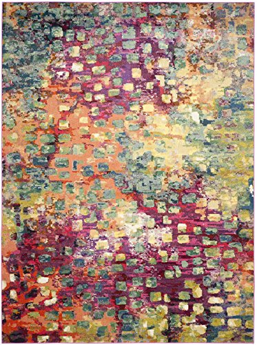Safavieh Monaco Collection MNC225D Modern Abstract Watercolor Pink and Multi Area Rug (8′ x 11′)