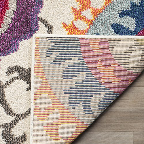 Safavieh Monaco Collection MNC233A Modern Colorful Floral Ivory and Multi Area Rug (8′ x 11′)